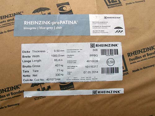 Coated Strip Steel Rheinzink prePatina Image-2